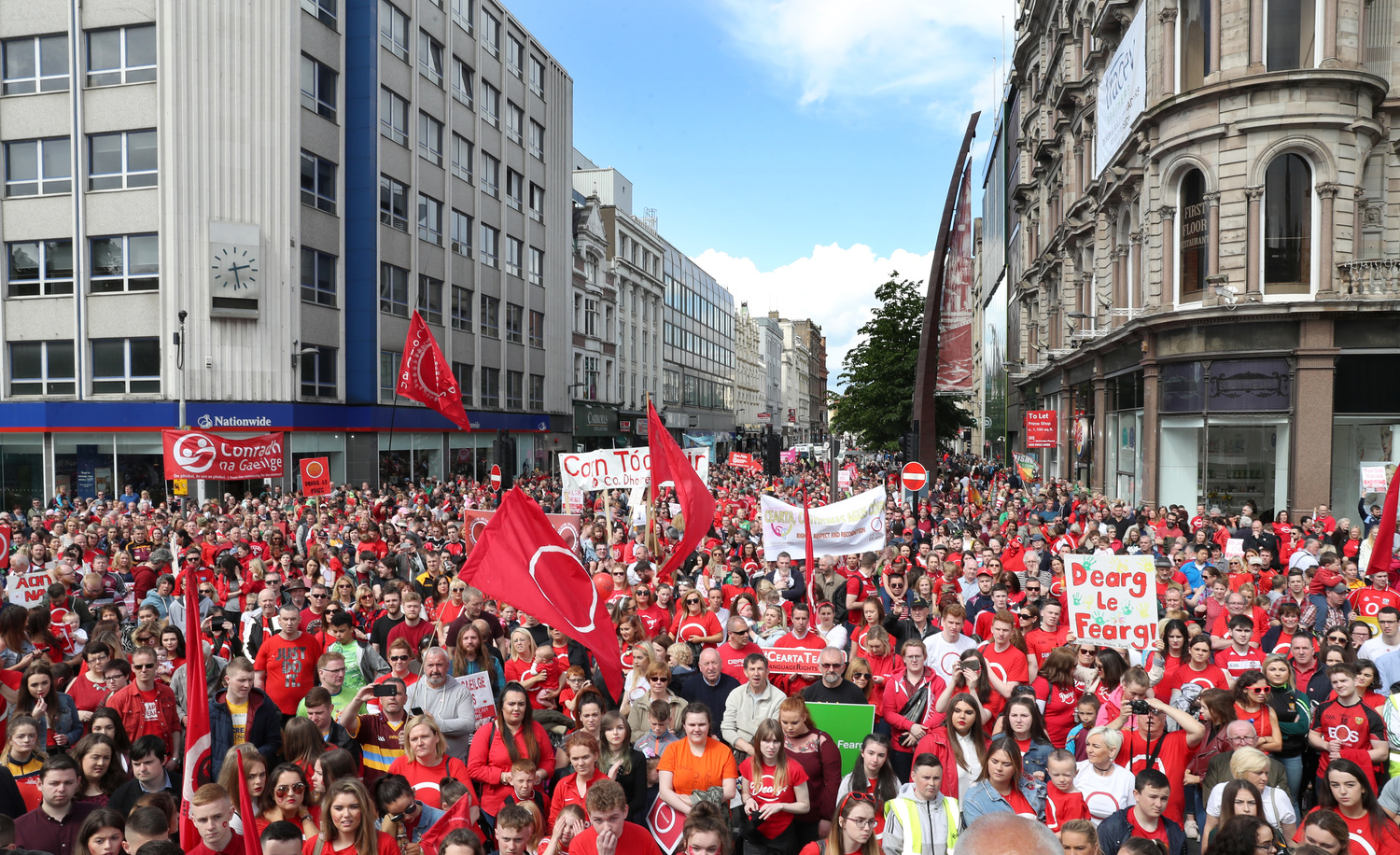 Thousands attended a rally in Belfast in May 2017 demanding an Irish language act.