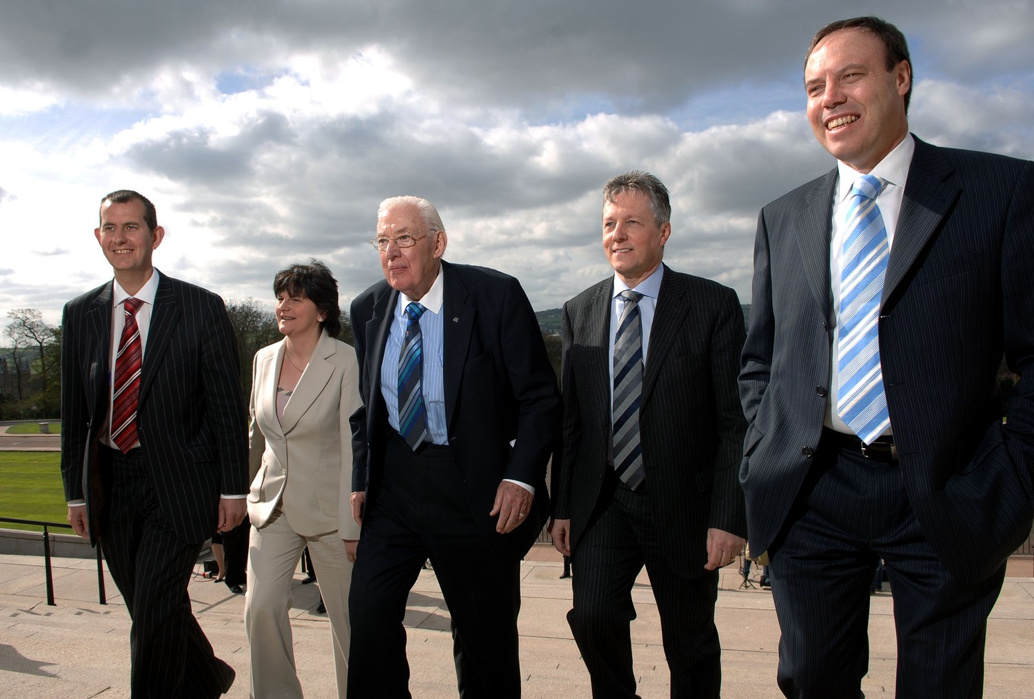 The DUP's Edwin Poots, Arlene Foster, Ian Paisley, Peter Robinson and Nigel Dodds, pictured in 2007 as they began to share power with Sinn Féin.