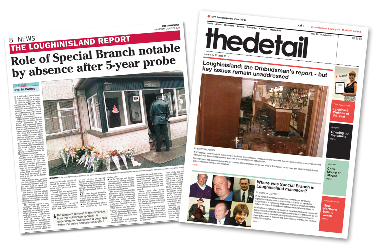Previous Detail stories highlighting how criticism of Special Branch was omitted from the ombudsman's Loughinisland report