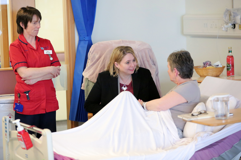 NI Secretary of State Karen Bradley at Altnagelivn Hospital