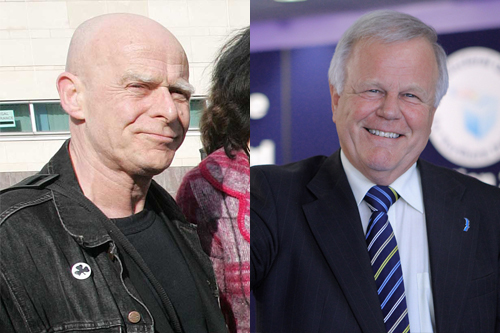 People Before Profit candidate Eamonn McCann and Pension Fund chairman Trevor Lunn