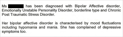 Lisa's medical notes show she was diagnosed as bipolar