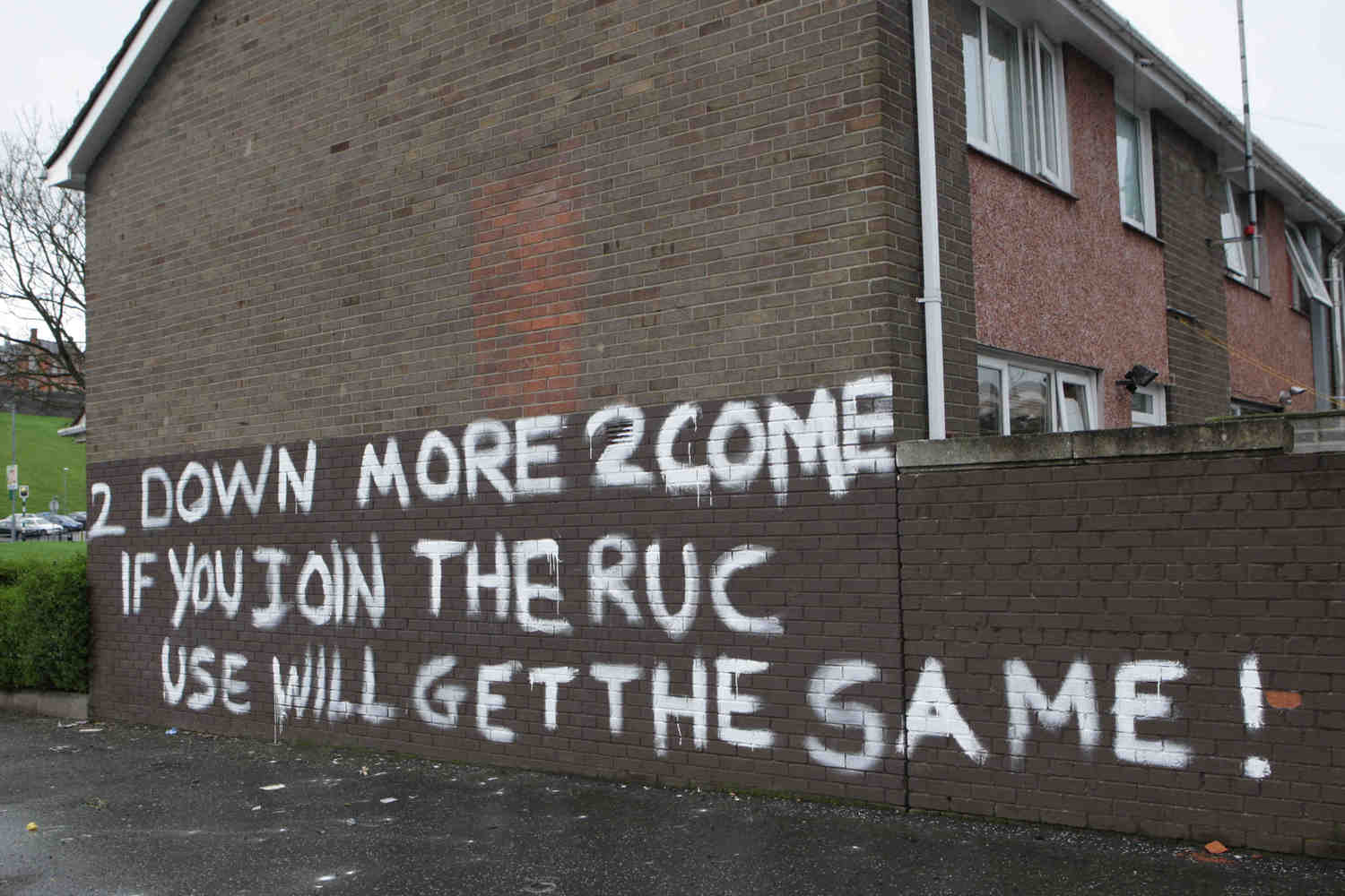 2011: This graffiti appeared in Derry following the murder of PSNI officer Ronan Kerr
