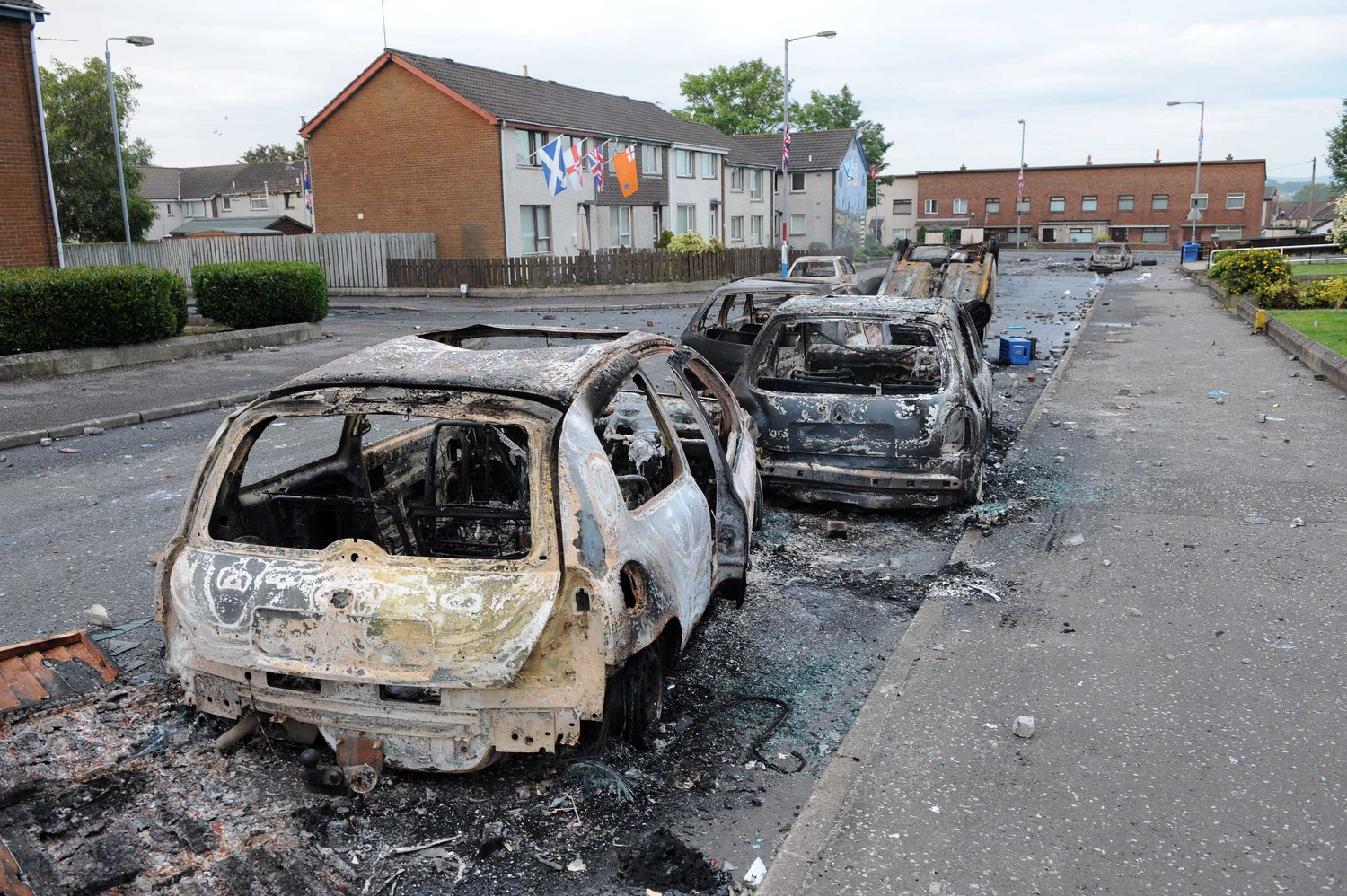 July 2011: Violence erupted in Ballyclare after the removal of flags