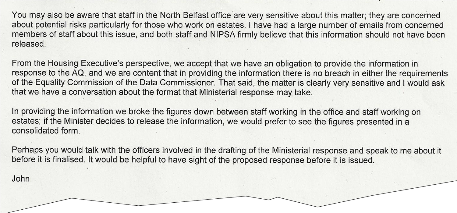 extract from Housing Executive chief executive John McPeake
