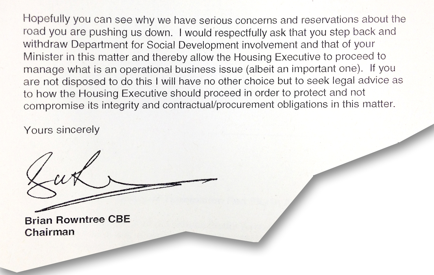 Extract from NIHE chairman Brian Rowntree letter to DSD Permanent Secretary Will Haire