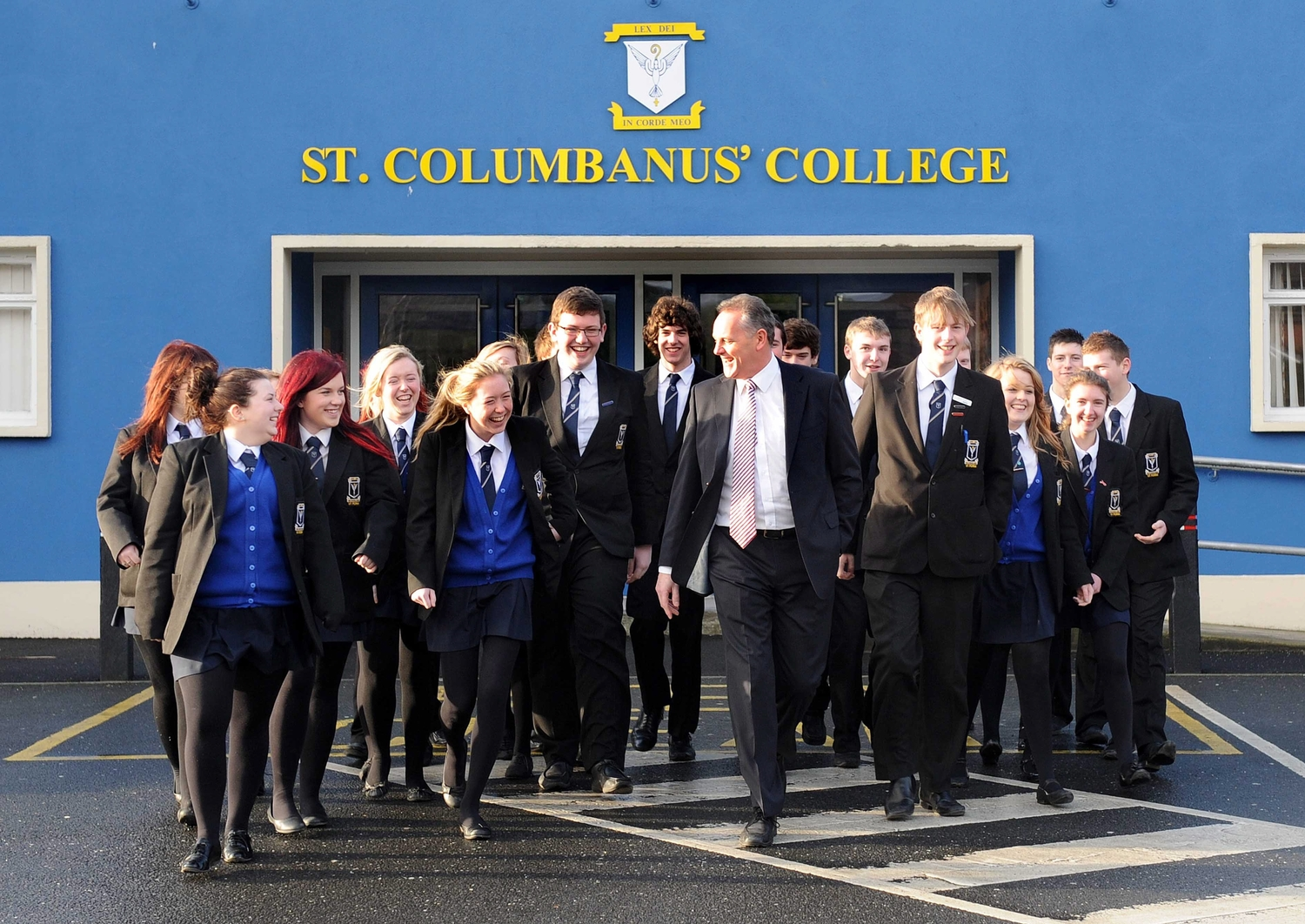 Principal Liam Perry with pupils from St Columbanus' College