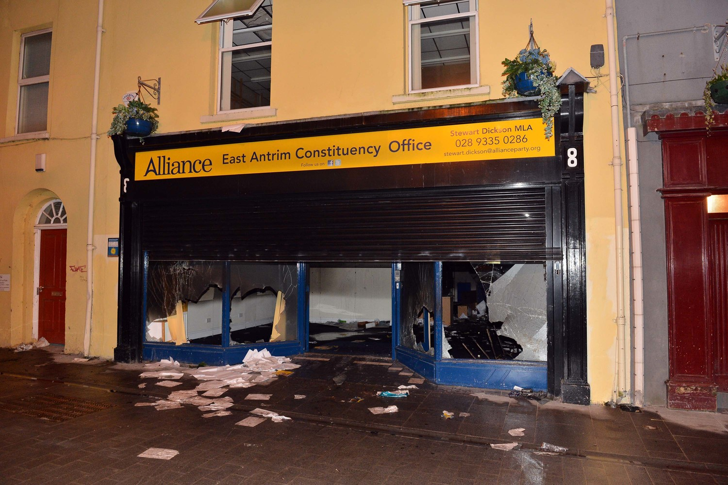 Alliance Party premises in Carrickfergus after Wednesday night's loyalist attack