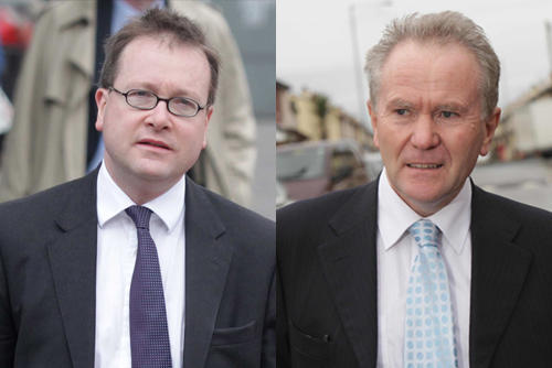 The Attorney General John Larkin QC (left) and Senior Coroner John Leckey