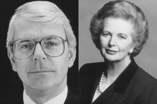 Former Prime Ministers John Major and Margaret Thatcher