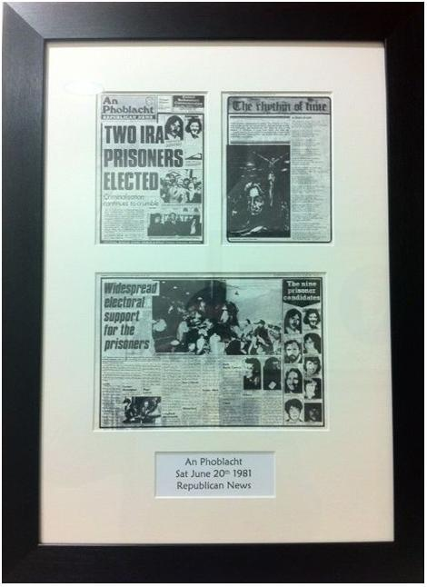 `Republican News' from 1981, hanging in Sinn Féin's Dáil offices.