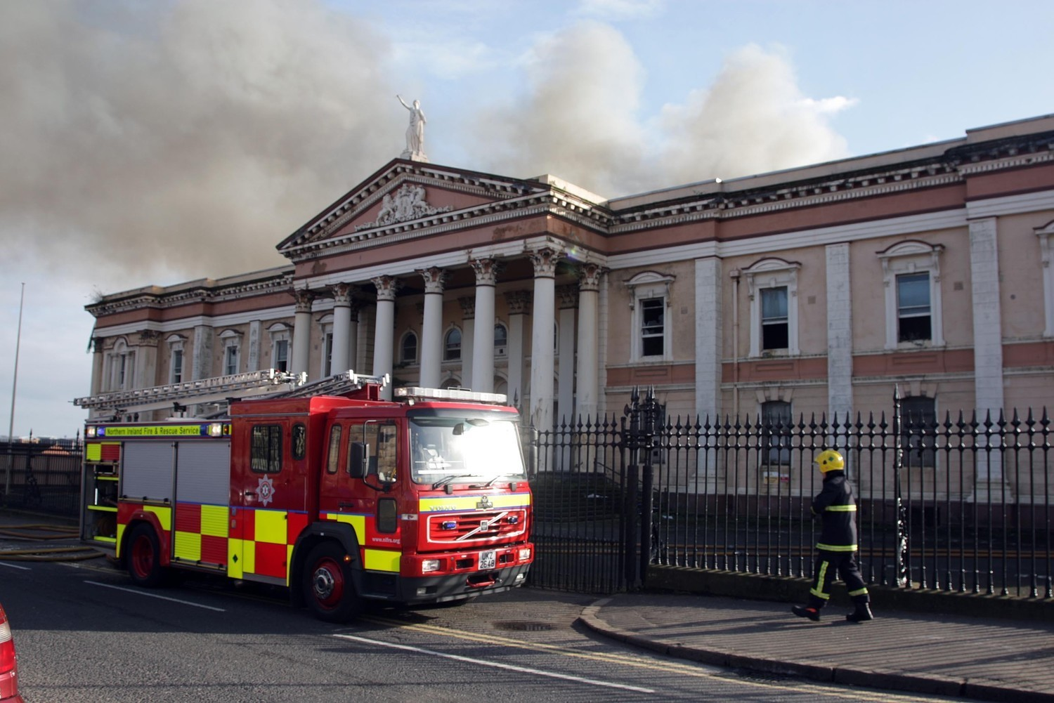 Fire crews respond to a fire at Crumlin Road Courthouse (Presseye)