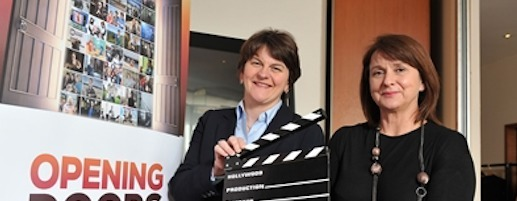 Enterprise Minister Arlene Foster pictured at the launch of NI Screen's Opening Doors strategy with Rotha Johnston, chair, NI Screen in 2014