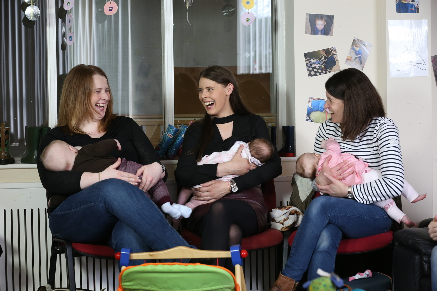 Megan and Austin Shaw, Julie Ann and Chloe Houston and Jillian and Rosanna McFaul at Larne Breastfeeding Group. Photo by Press Eye