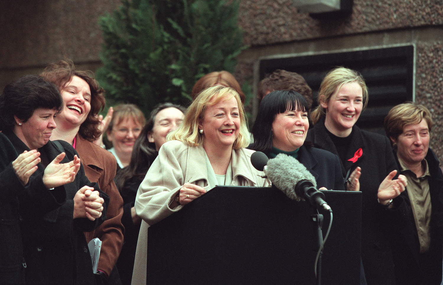Women's Coalition members after the Good Friday Agreement was brokered. Photo by Derek Spiers