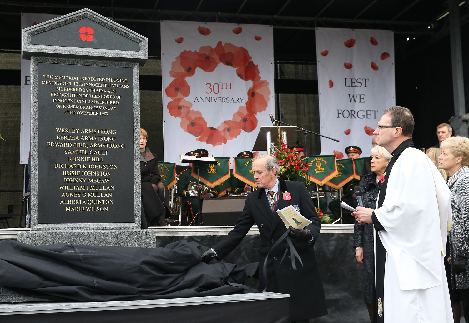 A memorial was unveiled, but has yet to be put in place, to mark the 30th anniversary of the Enniskillen bombing